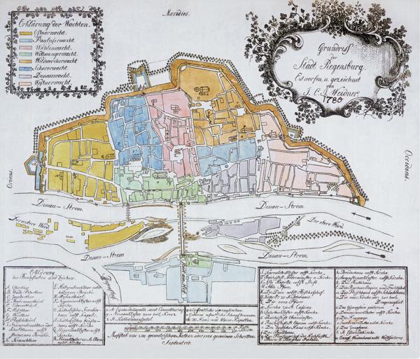 AltstadtQuartier Lithowerkstatt Niedermayr Wachtplan Nachdruck 1803 Regensburg